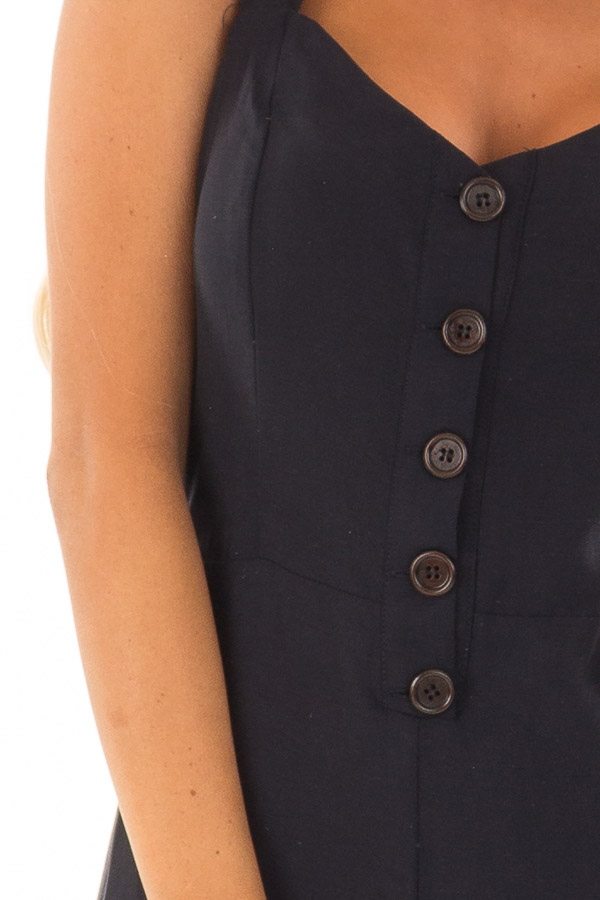 Navy Button Up Jumpsuit with Open Tie Back detail