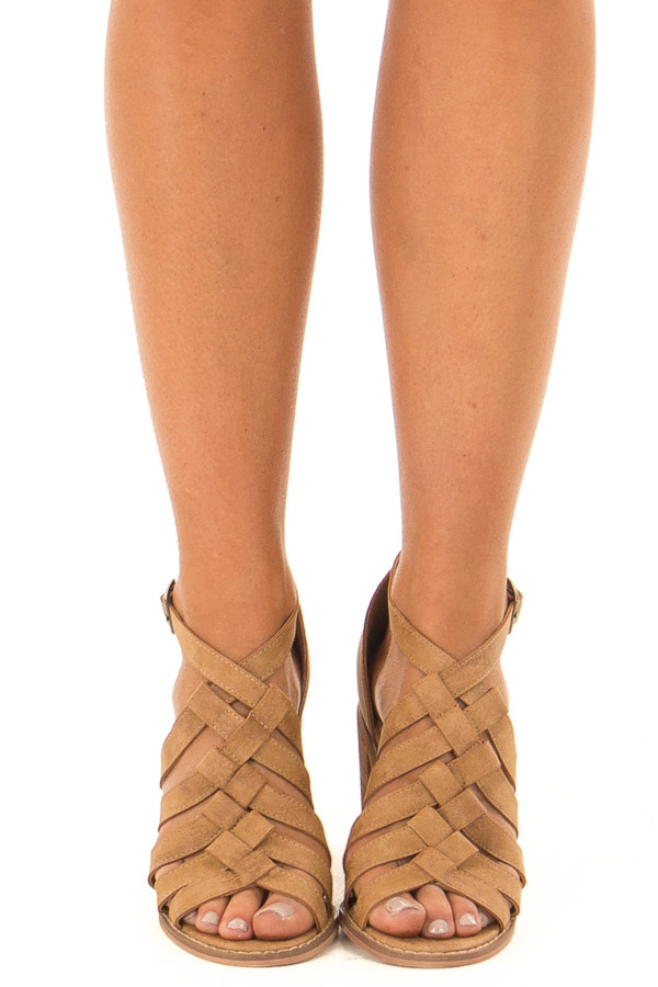 Light Brown Faux Leather Braided Open Toe Heels front view