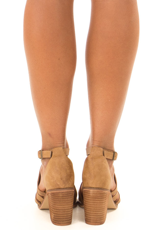 Light Brown Faux Leather Braided Open Toe Heels back view