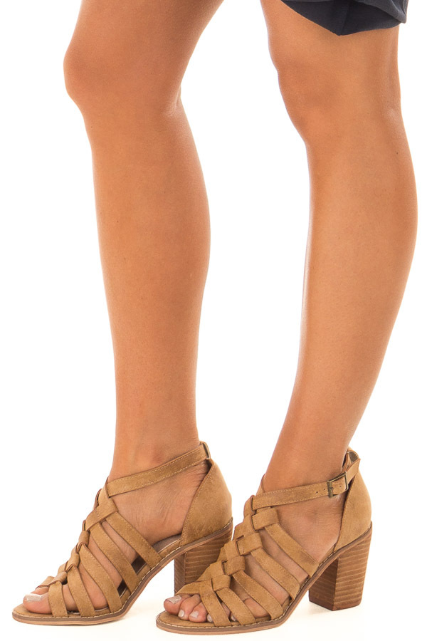 Light Brown Faux Leather Braided Open Toe Heels front side view