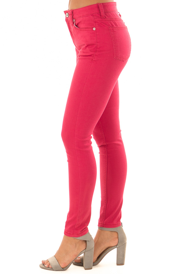 Crimson Mid Rise Skinny Ankle Jeans side view