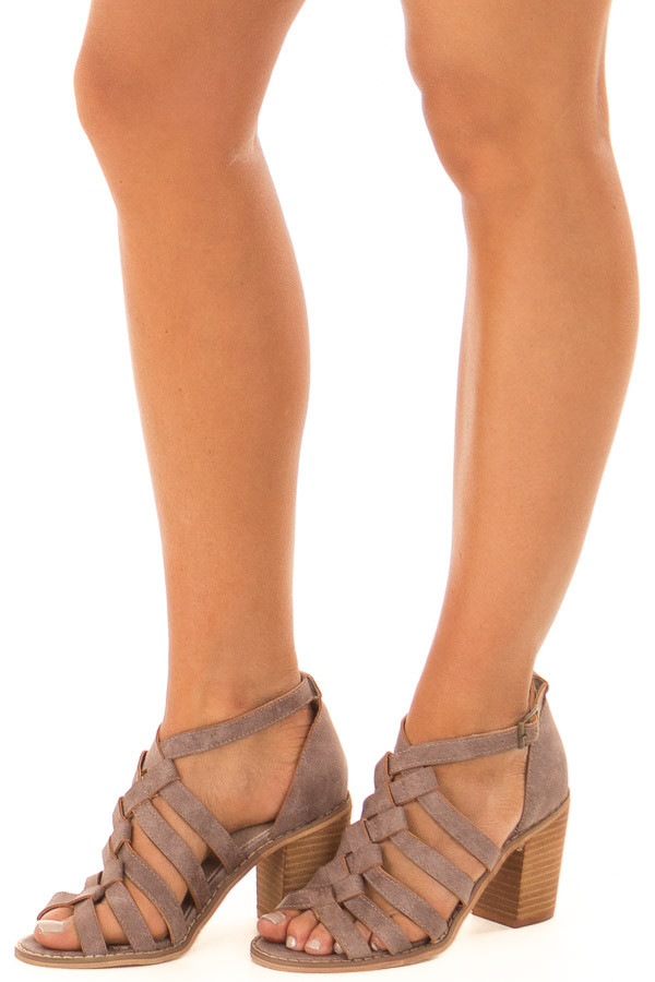 Lavender Faux Leather Braided Open Toe Heels front side view