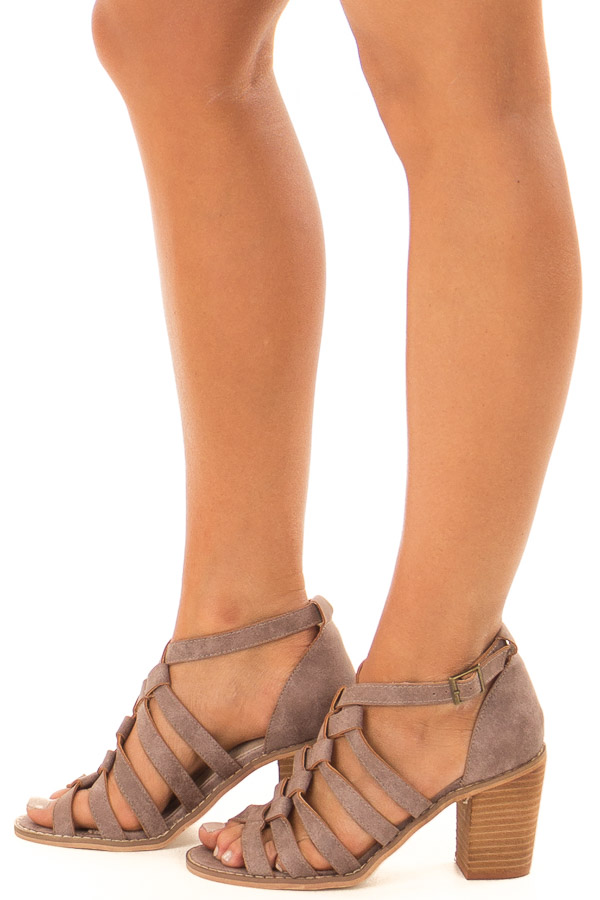 Lavender Faux Leather Braided Open Toe Heels side view