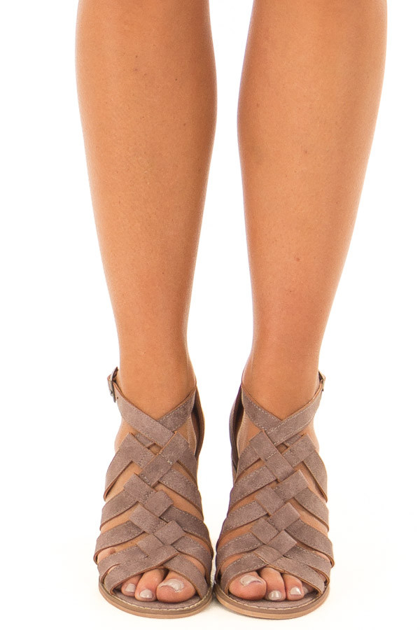 Lavender Faux Leather Braided Open Toe Heels front view