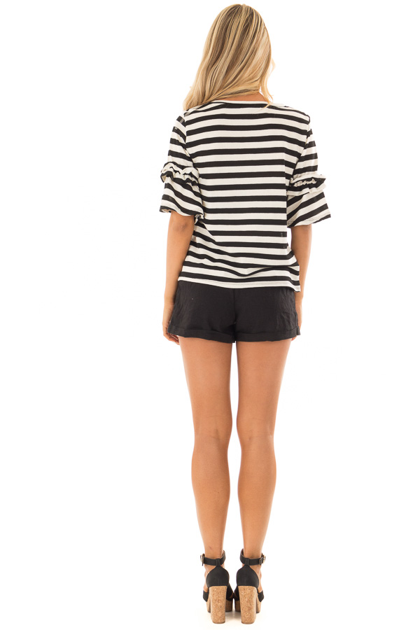 Black and Cream Striped Top with Ruffle Sleeve Detail back full body