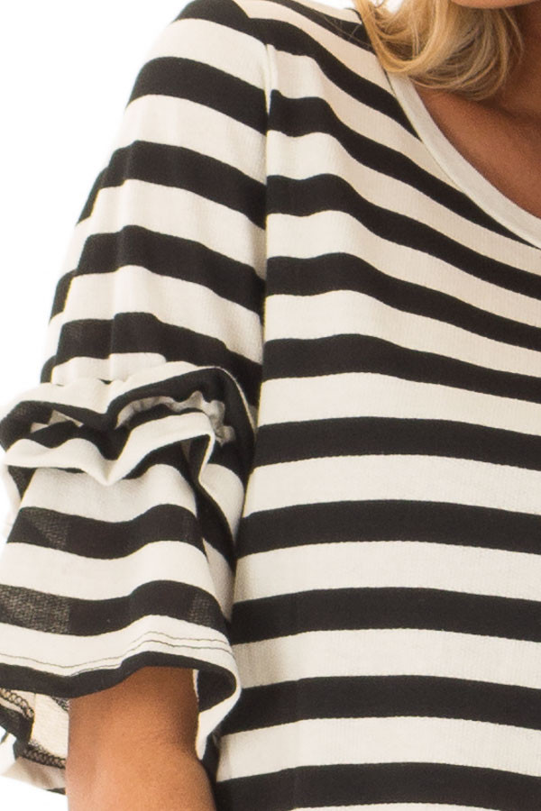 Black and Cream Striped Top with Ruffle Sleeve Detail detail