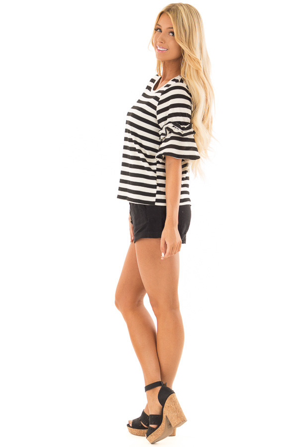 Black and Cream Striped Top with Ruffle Sleeve Detail side full body