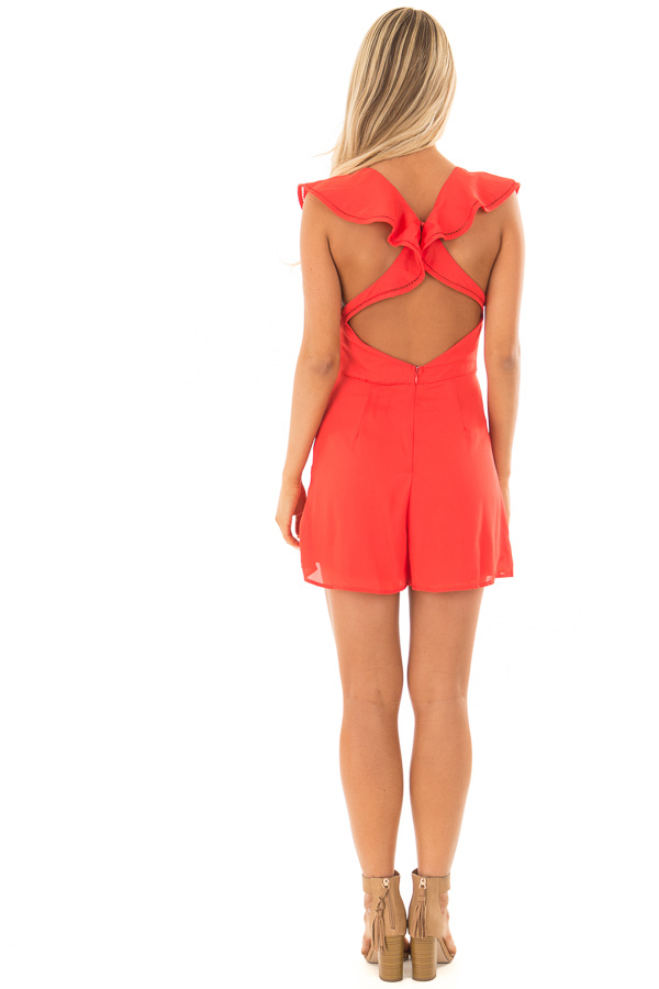 Tomato Red Open Back Romper with Ruffle Overlay back full body
