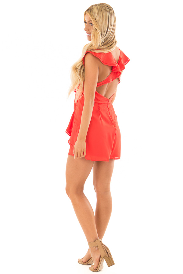 Tomato Red Open Back Romper with Ruffle Overlay side full body