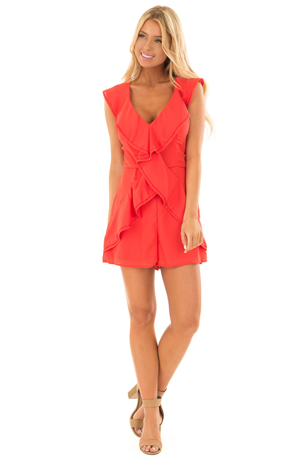 Tomato Red Open Back Romper with Ruffle Overlay front full body