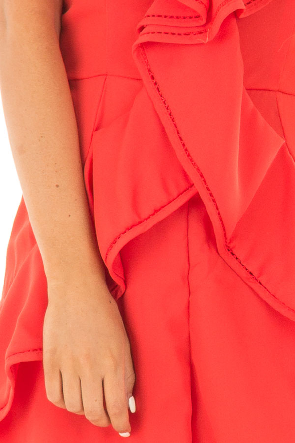 Tomato Red Open Back Romper with Ruffle Overlay detail