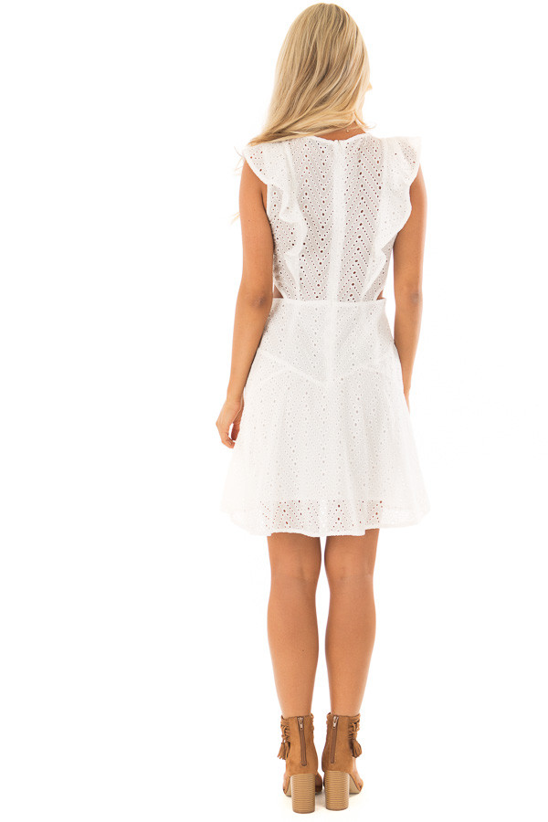 c1ff42e8a00 ... White Eyelet Dress with Ruffle Trim and Cutout Sides back full body ...