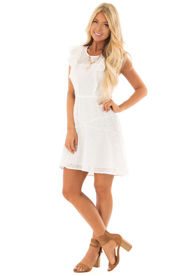 f06e0a40477 ... White Eyelet Dress with Ruffle Trim and Cutout Sides front full body ...