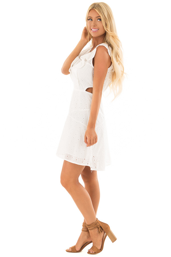 75c864ae988 ... White Eyelet Dress with Ruffle Trim and Cutout Sides side full body ...