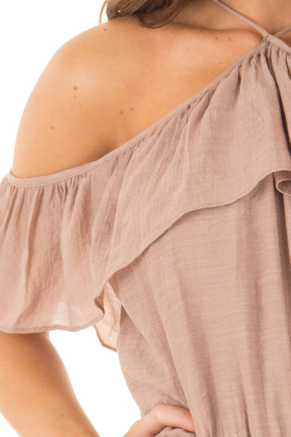 Dusty Mauve Halter Romper with Ruffle Overlay Detail detail