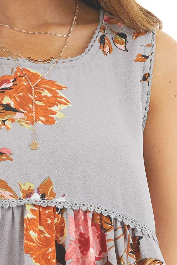 Dusty Blue Floral Print Sleeveless Mini Dress with Lace Trim detail