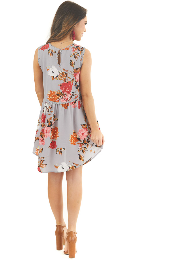 Dusty Blue Floral Print Sleeveless Mini Dress with Lace Trim back full body