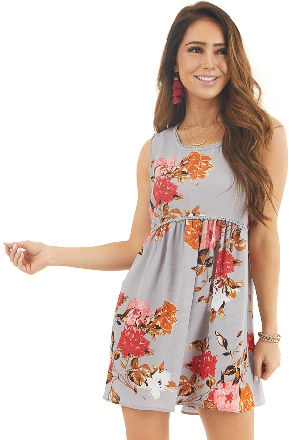 Dusty Blue Floral Print Sleeveless Mini Dress with Lace Trim front close up