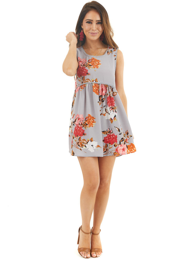 Dusty Blue Floral Print Sleeveless Mini Dress with Lace Trim front full body