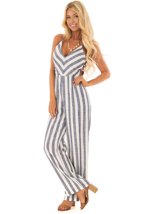 3e999a65bc2 Navy and Off White Striped Jumpsuit with Side Cutouts - Lime Lush ...