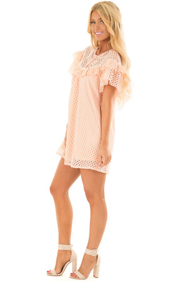 6475f6c8be9 Peach Tunic Dress with Lace Detail and Ruffle Sleeves - Lime Lush ...