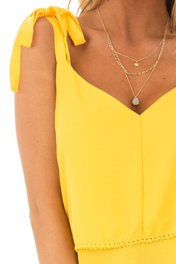 Golden Yellow Sleeveless Layered Top with Shoulder Ties front detail