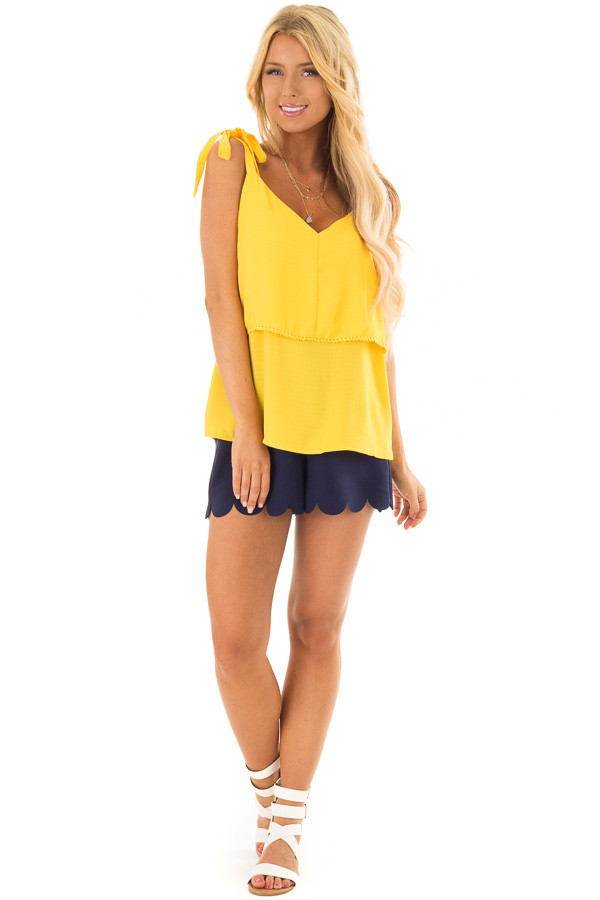 Golden Yellow Sleeveless Layered Top with Shoulder Ties front full body