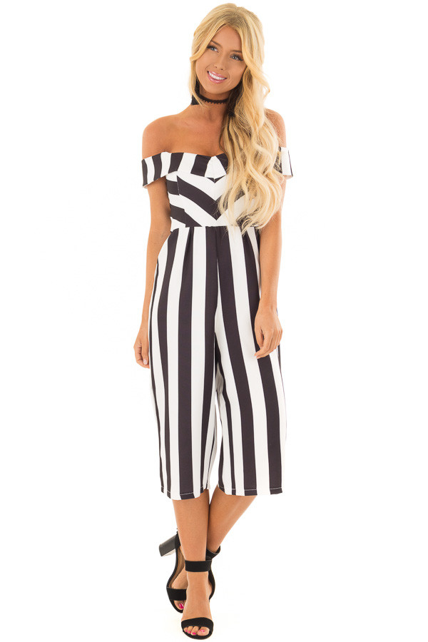 Black and White Striped Off Shoulder Capri Length Jumpsuit front full body  ... 0ac569088