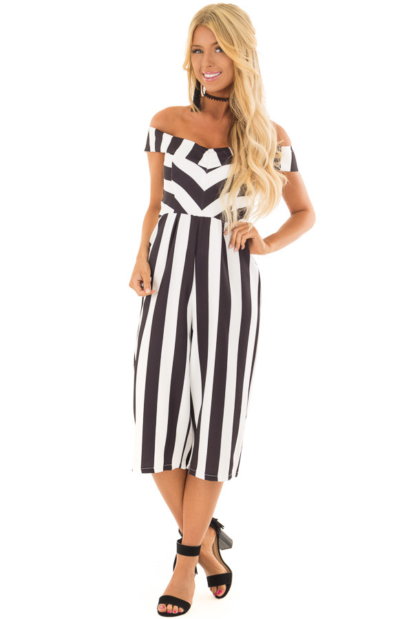 ... Black and White Striped Off Shoulder Capri Length Jumpsuit front full  body ... 04466a5cb