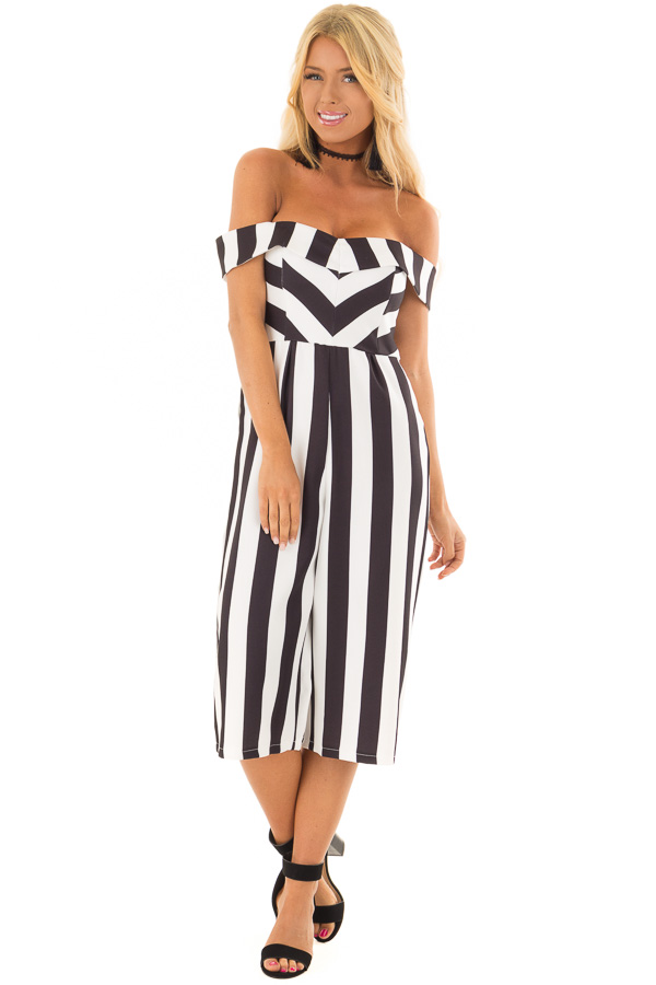 05f91b709f6 ... Black and White Striped Off Shoulder Capri Length Jumpsuit front full  body ...