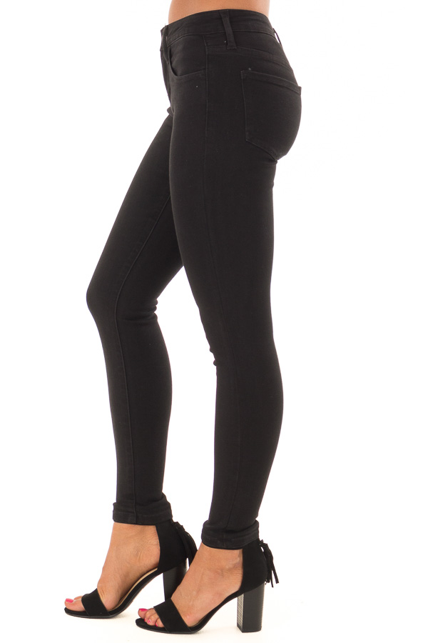 Black Mid Rise Stretchy Skinny Jeans side view