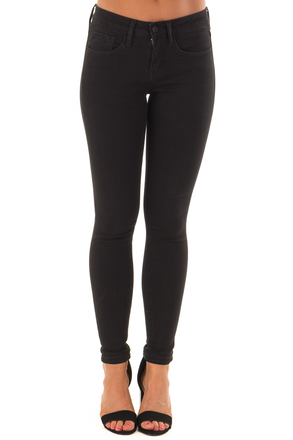 Black Mid Rise Stretchy Skinny Jeans front view