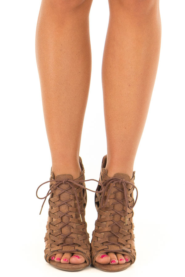 641f761e0 Tan Detailed Lace Up Open Toe High Heels - Lime Lush Boutique