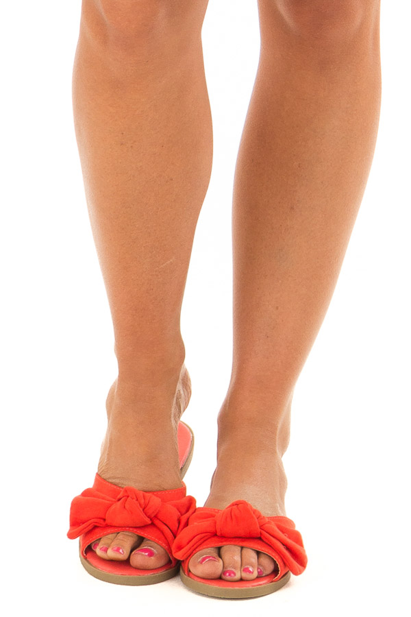 Tomato Faux Suede Slip On Sandal with Bow Detail front view