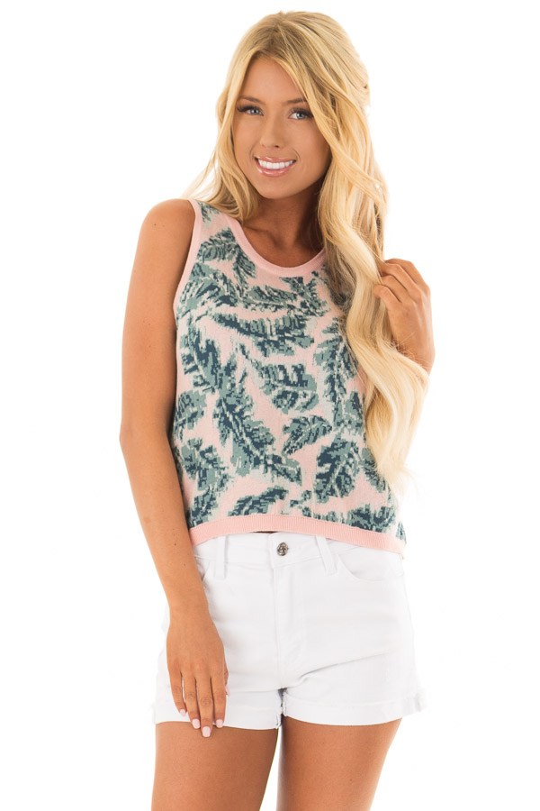 f0df878da9a44 Blush Tropical Leaf Print Thick Knit Tank Top - Lime Lush Boutique