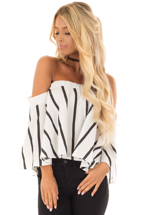 2644ad6c7e White and Black Striped Off the Shoulder Top - Lime Lush Boutique