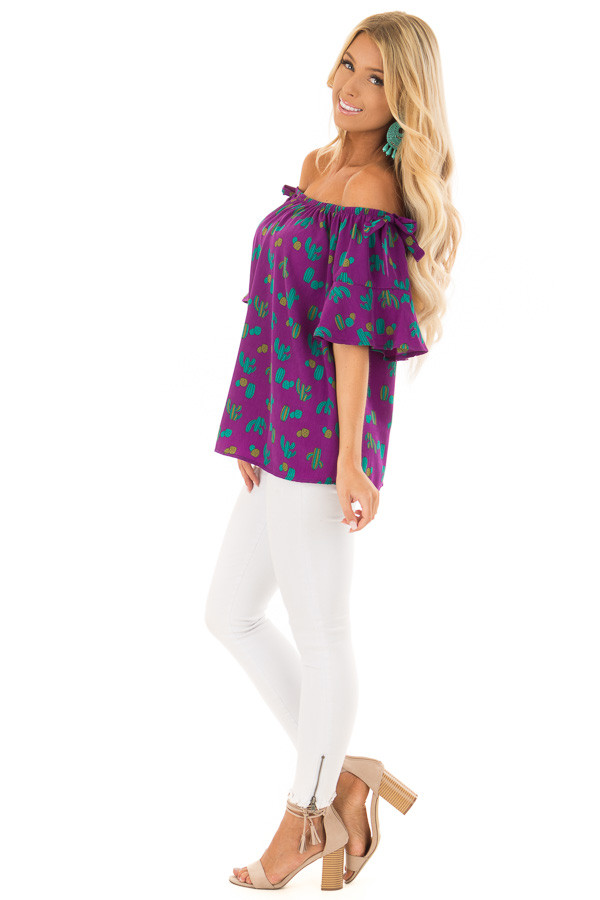 Electric Purple Cactus Print Off the Shoulder Top side full body