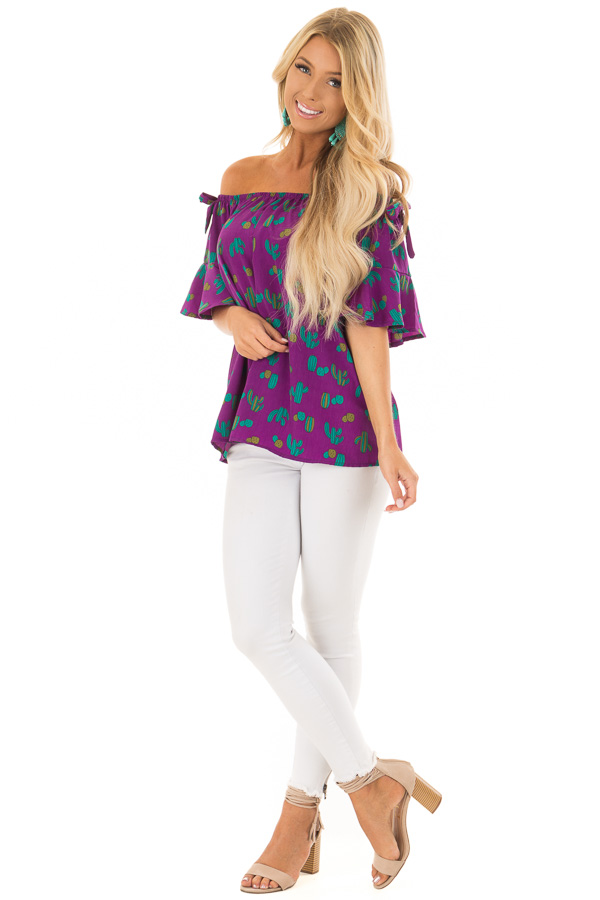 Electric Purple Cactus Print Off the Shoulder Top front full body