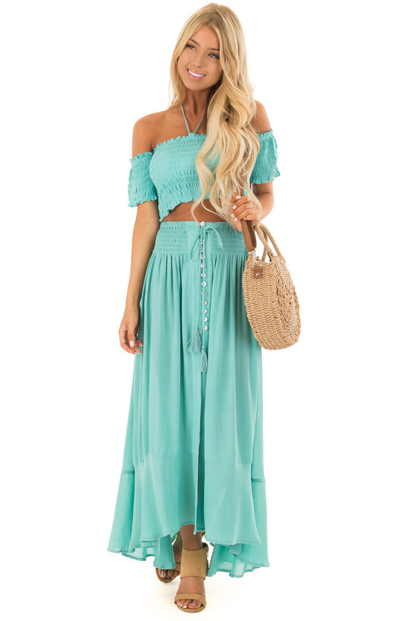 Mint Off the Shoulder Crop Top with Maxi Skirt Two Piece Set front full body d4e684be5bba