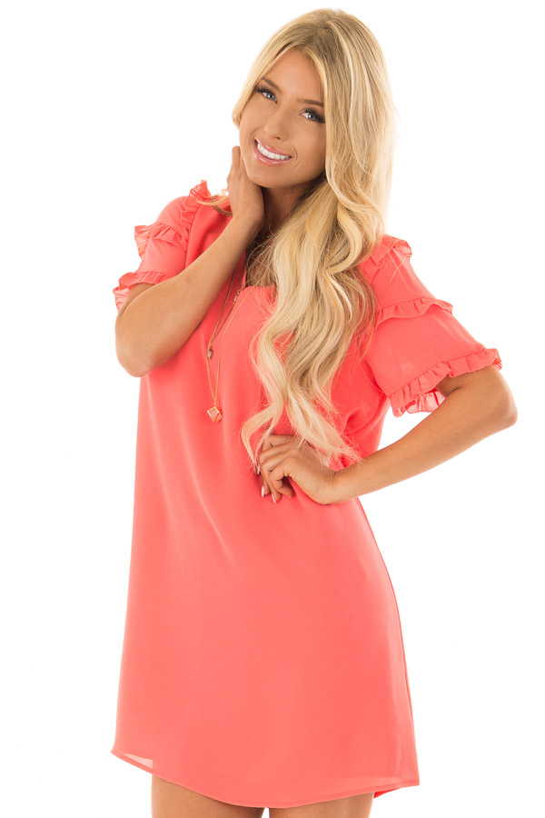 88631c59ee41 Coral Sherbet V Neck Shift Dress with Ruffle Sleeves - Lime Lush ...