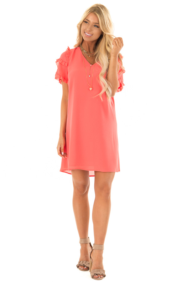 3909eb188d0 ... Coral Sherbet V Neck Shift Dress with Ruffle Sleeves front full body ...