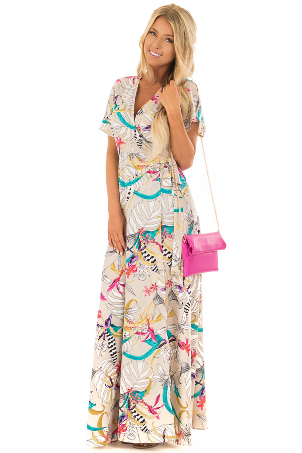 6f519346661 Taupe Fl Print Wrap Maxi Dress With Tie Front Full Body