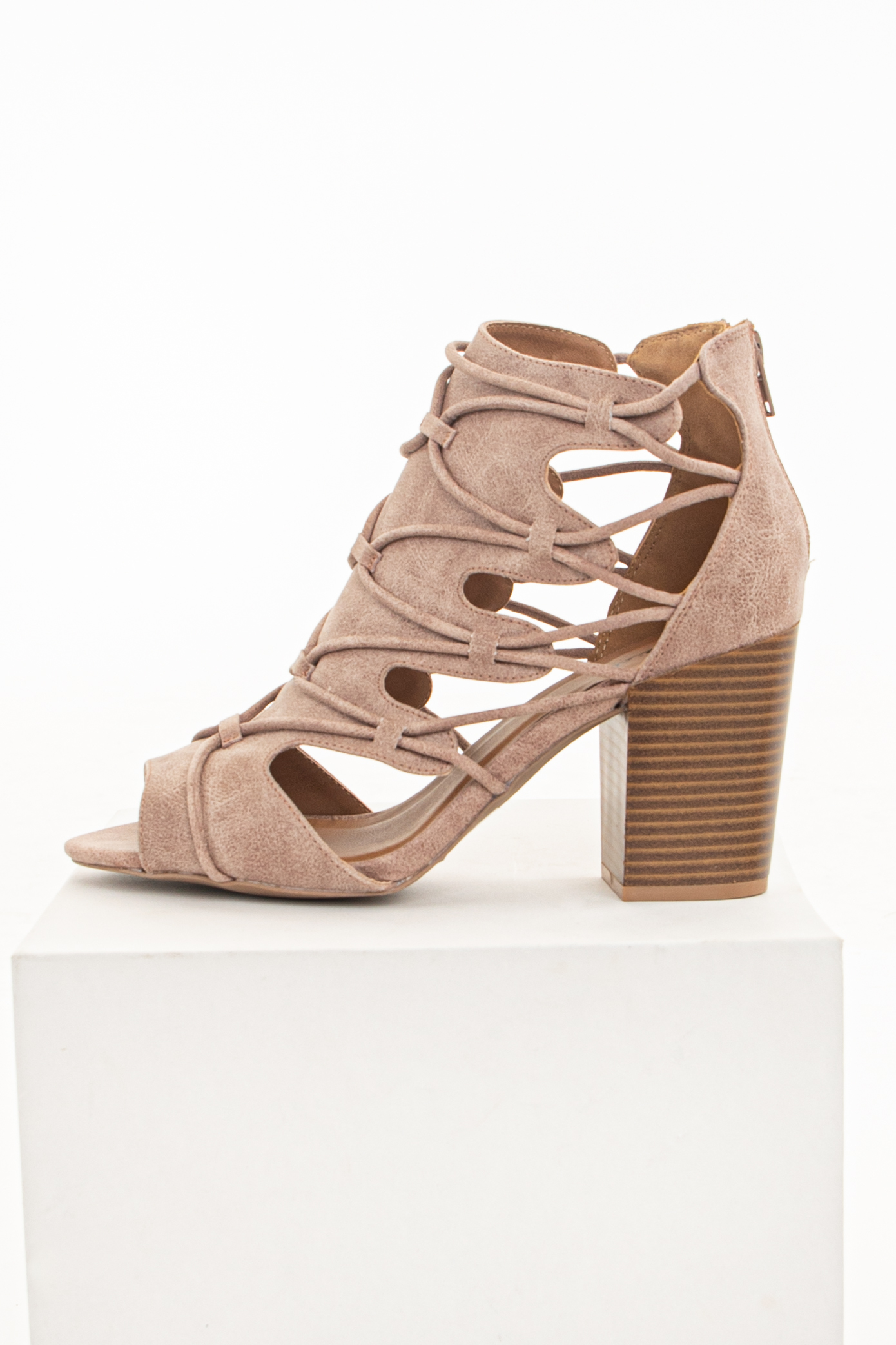 Warm Taupe Lace Up Open Toe High Heels