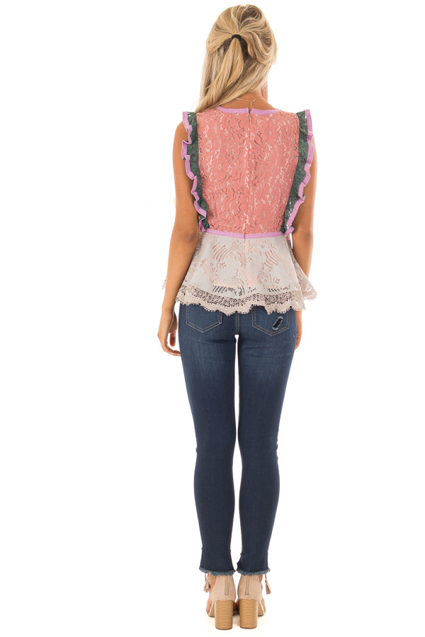 7aa7227360a Dusty Coral Floral Lace Babydoll Top with Contrast - Lime Lush Boutique