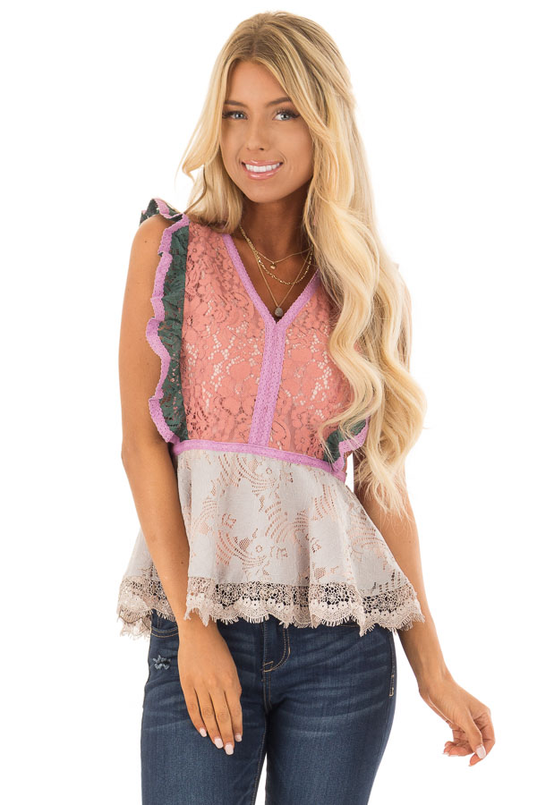 9a202b64807ef Dusty Coral Floral Lace Babydoll Top with Contrast - Lime Lush Boutique
