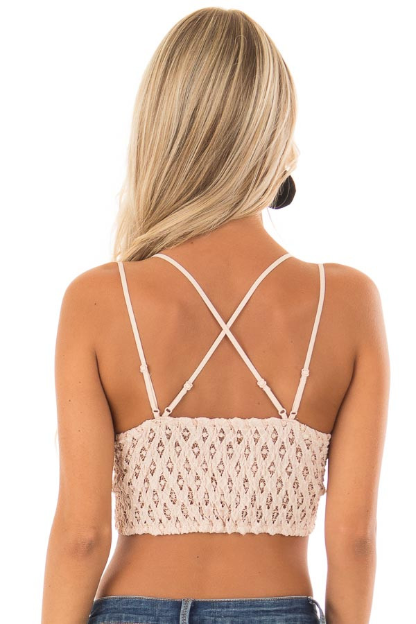 Blush Lace Bralette with Adjustable Criss Cross Straps back close up
