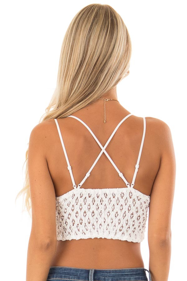 Ivory Lace Bralette with Adjustable Criss Cross Straps back close up