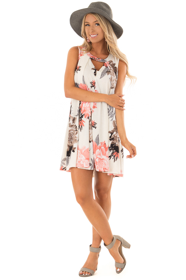 Eggshell Swing Dress with Floral Print and Keyhole Detail front full body