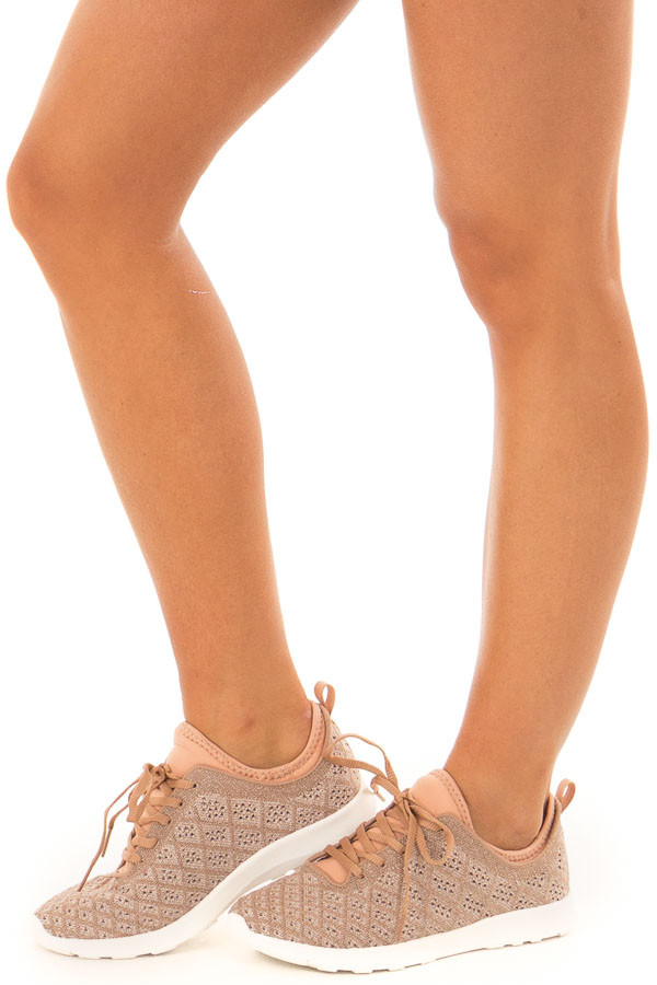 9b7c6fff5004 ... Rose Gold Sparkle Lace Up Sneakers with Waffle Knit Pattern front side  view ...