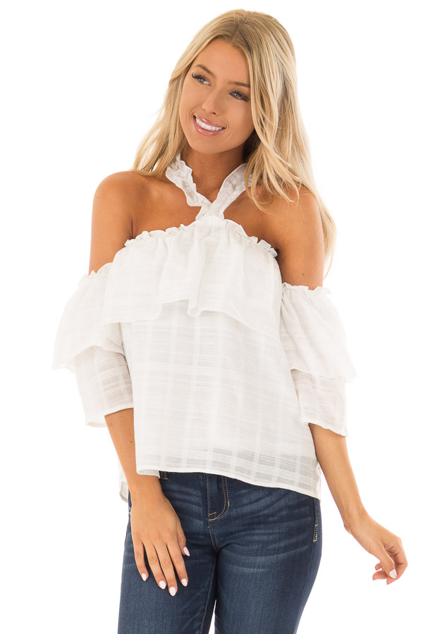 010b2156cc3cf Ivory Ruffle Halter Neck Top with Off the Shoulder Sleeves front close up